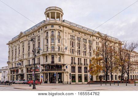 Warsaw, Poland - November 4, 2016: the hotel Bristol in Warsaw