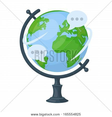 Globe of various languages icon in cartoon design isolated on white background. Interpreter and translator symbol stock vector illustration.