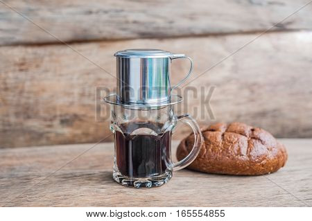 'phin' Traditional Vietnamese Coffee Maker, Place On The Top Of Glass, Add Ground Coffee Then Pour H