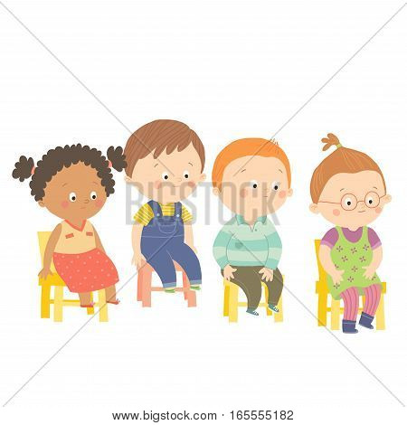 Perplex preschool children sitting on chairs. Cartoon vector hand drawn eps 10 illustration isolated on white background in flat style.