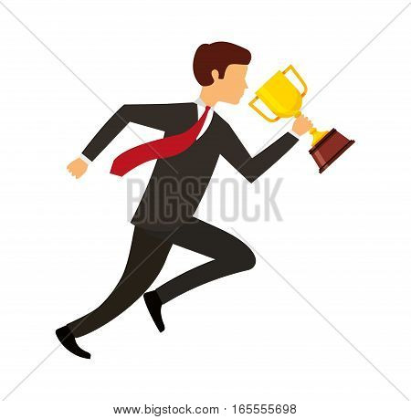 businessperson running avatar with trophy vector illustration design