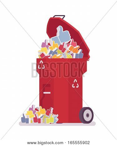 Red trash bin on wheels full of likes, plastic garbage can overloaded with deleted likes, useless appreciation of post or photo, unwilling support of content, unfair voting in social network