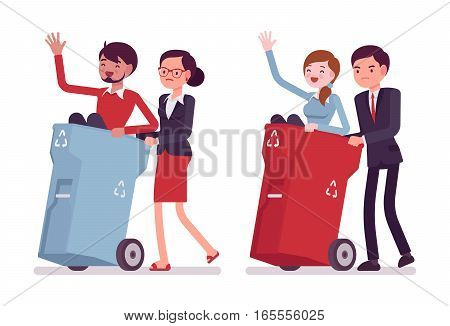 Business people carring away useless people in trash bins on wheels, ineffective employee, remove bad worker, delete from friend list in social media, annoying relations, unfriend a hated person, ban