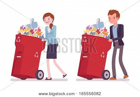 Young businessman and businesswoman pushing wheeled trash bins full of unwanted likes for post, photo, spam in social network, undo a click, fake followers, annoying friendship