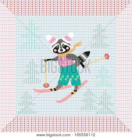 Cute cartoon raccoon on skiing in the forest. Winter knitted pattern with original frame. Christmas background. Greeting card.