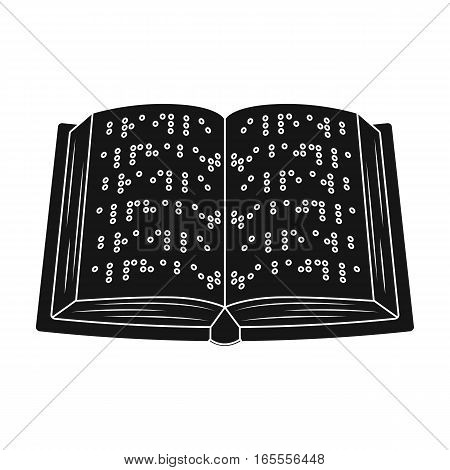 Book written in braille icon in black design isolated on white background. Interpreter and translator symbol stock vector illustration.
