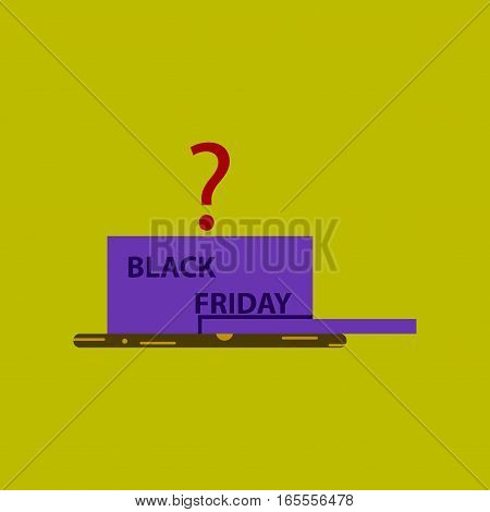 Flat icon of open gift box Black Friday