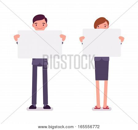 Man and woman holding empty white boards, demanding for public support, pressure to an employer, asking for help, mute and having intimate problems, full length, copy space