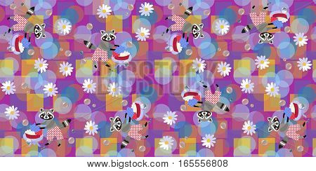 Seamless vector pattern with cute raccoons bubbles and daisies on abstract background.