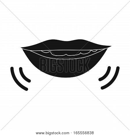 Speaking mouth icon in black design isolated on white background. Interpreter and translator symbol stock vector illustration.