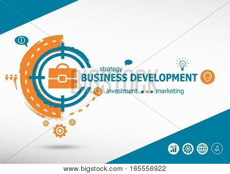 Business Development On Target Icon Background. Flat Illustration.