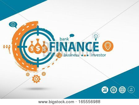 Finance Concept On Target Icon Background. Flat Illustration.