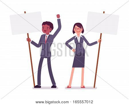 Angry businessman and businesswoman holding picket signs, expressing demands and protesting, freedom of assembly, labour rights of picketing, influencing public opinion, full length, copy space