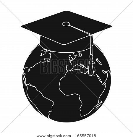 Multilingual planet icon in black design isolated on white background. Interpreter and translator symbol stock vector illustration.