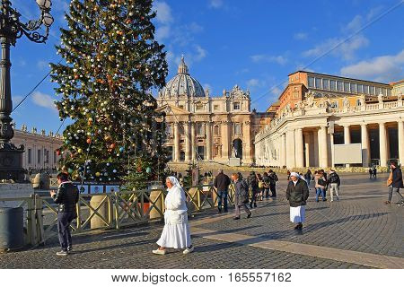 ROME, ITALY: January 02, 2017 : Christmas in the Vatican City, decorated Christmas tree in the square in front of St. Peter's Basilica on january 02, 2017, Rome, Italy