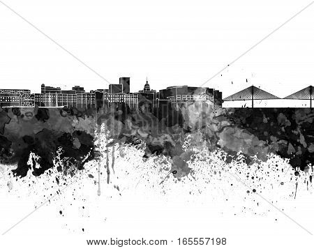 Savannah skyline in artistic abstract black watercolor