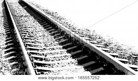 Vector black-and-white illustration Railway on white background