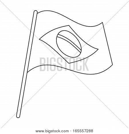 Flag of Brazil icon in outline design isolated on white background. Brazil country symbol stock vector illustration.