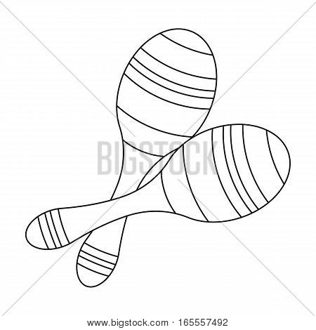 Brazilian maracas icon in outline design isolated on white background. Brazil country symbol stock vector illustration.