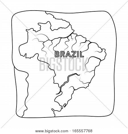 Territory of Brazil icon in outline design isolated on white background. Brazil country symbol stock vector illustration.