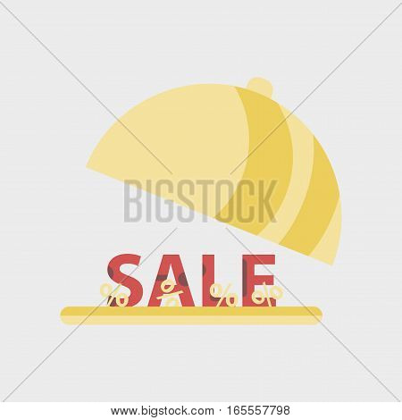 Flat icon of sale percent dish cover