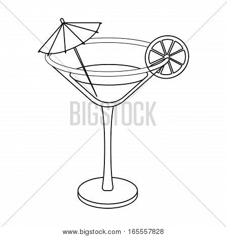Lemon cocktail icon in outline design isolated on white background. Brazil country symbol stock vector illustration.