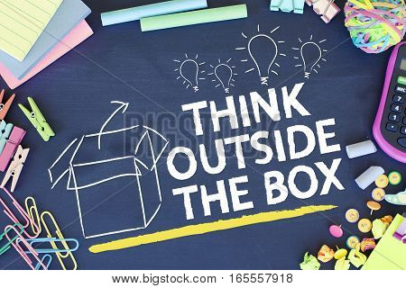 Think outside the box creative ideas creativity concept