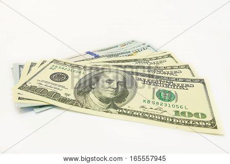 hundred dollar banknotes isolated on white background