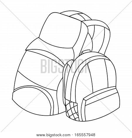 Pair of travel backpacks icon in outline design isolated on white background. Family holiday symbol stock vector illustration.