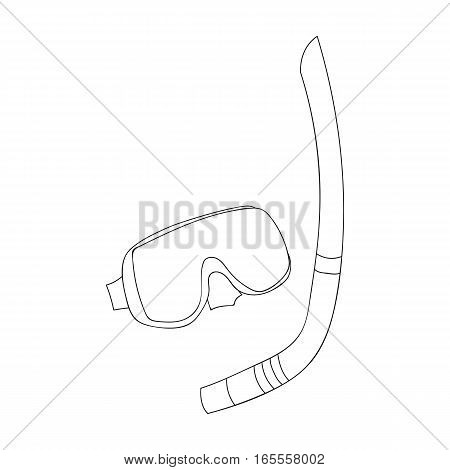 Mask and tube for diving icon in outline design isolated on white background. Family holiday symbol stock vector illustration.