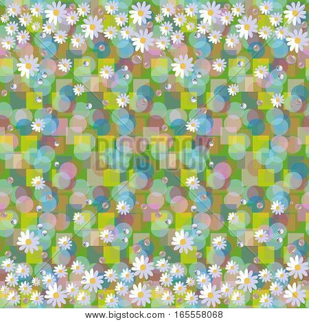 Seamless Vector Pattern With Daisies And Dewdrops On Abstract Background. Beautiful Floral Border.