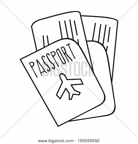 Passport icon in outline design isolated on white background. Family holiday symbol stock vector illustration.
