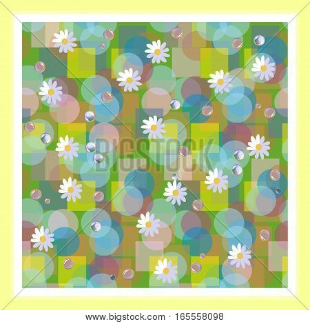 Kerchief Square Design. Bandana Print With Daisies And Dewdrops. Beautiful Vector Card.