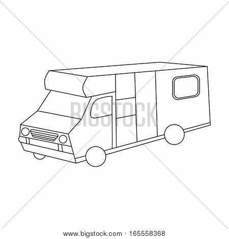 Campervan icon in outline design isolated on white background. Family holiday symbol stock vector illustration.