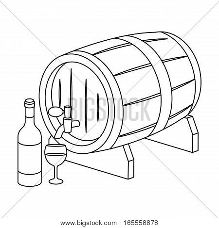 Wooden wine barrel icon in outline design isolated on white background. France country symbol stock vector illustration.