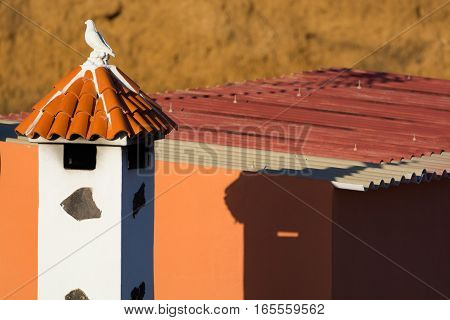Decorative roof chimney and house roof on Tenerife Spain close up