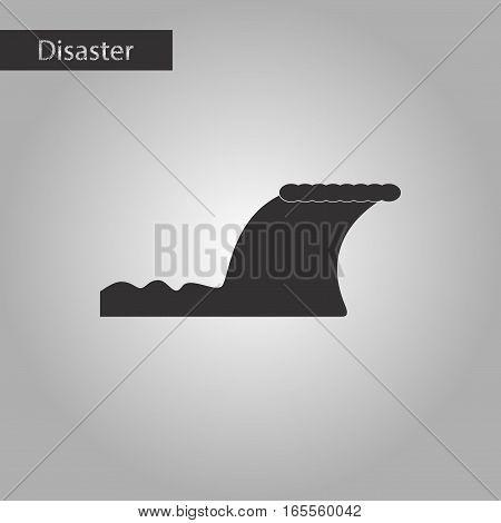 black and white style icon of disaster tsunami