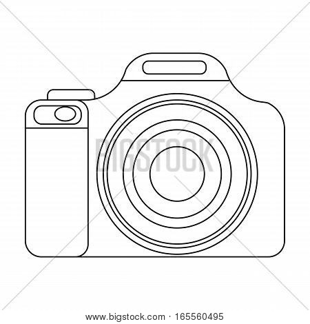 Digital camera icon in outline design isolated on white background. Rest and travel symbol stock vector illustration.