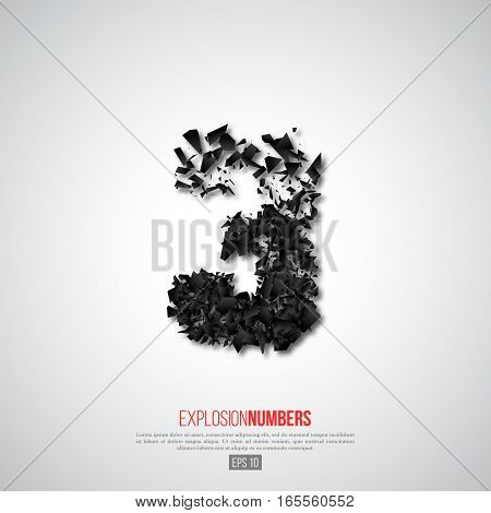 Abstract 3D number of explosion particles effect. Element for design. Vector illustration.