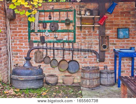 Old kitchen in Serbian village with dishes
