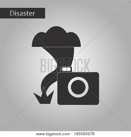 black and white style icon of tornado camera