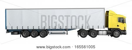 Big Truck Trailer On White Background With No Shadows 3D Illustration