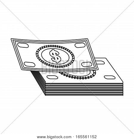 Pile of cash icon in outline design isolated on white background. Rest and travel symbol stock vector illustration.