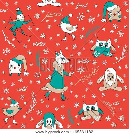 Funny animals in winter. Seamless pattern hand-drawn. Cute animals and birds on skates and skis. Fox and owl in fur coats, hats and scarves. Red background.