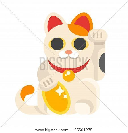 Vector flat style illustration of Japanese Lucky Cat Maneki Neko. Icon for web. Isolated on white background.