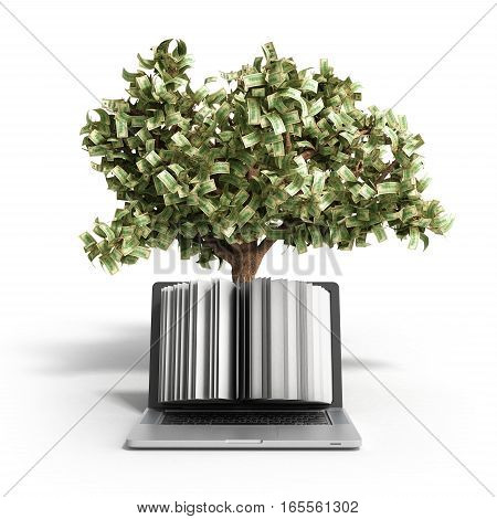 Black Pc With Money Tree On White Background 3D Render Success Knowlage Concept