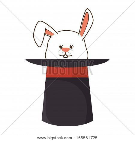 Wizard hat with rabbit isolated icon vector illustration design