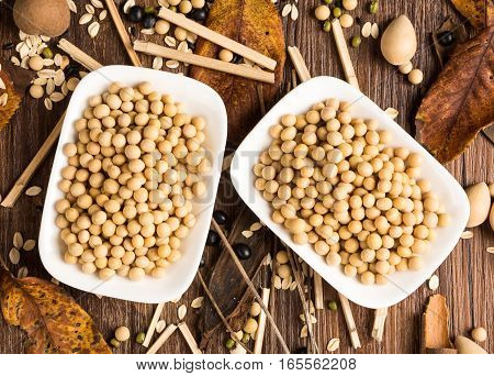 two bowls with soybeans on a table
