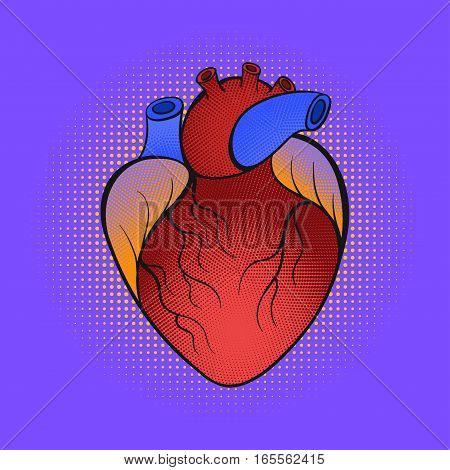 Vector hand drawn pop art illustration of heart. Retro style.For print, web.