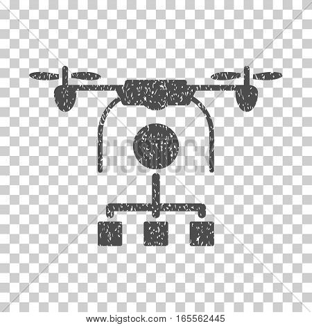Drone Distribution grainy textured icon for overlay watermark stamps. Flat symbol with unclean texture. Dotted vector gray ink rubber seal stamp with grunge design on a white background.